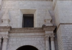 Gołębie wychodząc z katedry